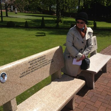 Millie's memorial bench at the Carjin Centre